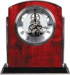 Rosewood Piano Finish Arch Clock with Silver Trim Clock Awards