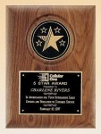 American Walnut Plaque with 5 Star Medallion Patriotic Awards